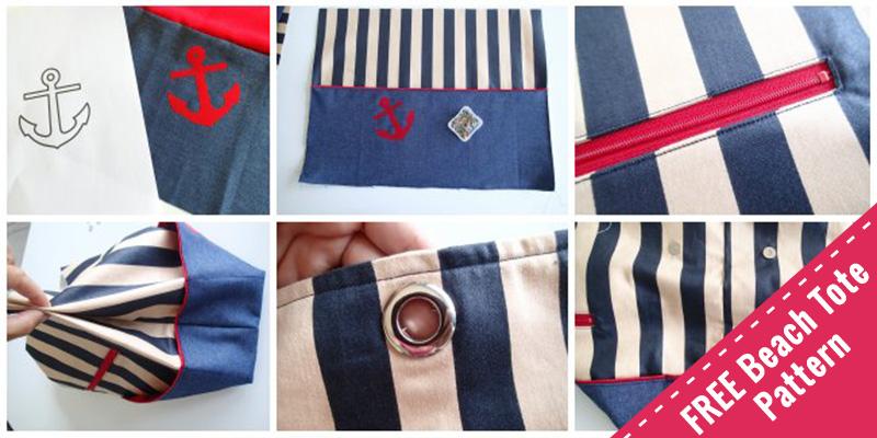 easy sewing pattern - beach tote bag
